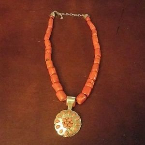 Jay king chunky red coral neckace and pendant